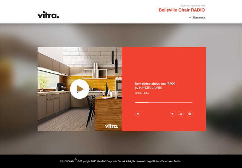 Browser view of the Vitra Instore Music Web-Application